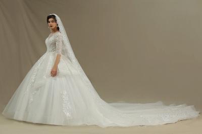 Designer Hochzeitskleider A Linie | Bruatkleider Spitzeärmel_4