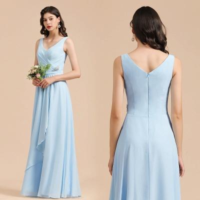 Brautjungfernkleider Heller Blau   Günstiges Brautjungfernkleid Lang Chiffon_10