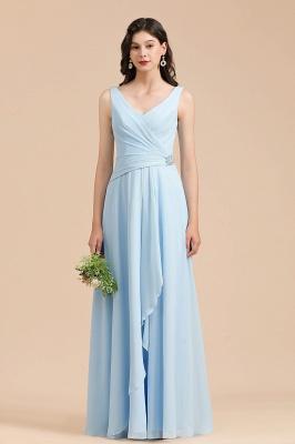 Brautjungfernkleider Heller Blau   Günstiges Brautjungfernkleid Lang Chiffon_1