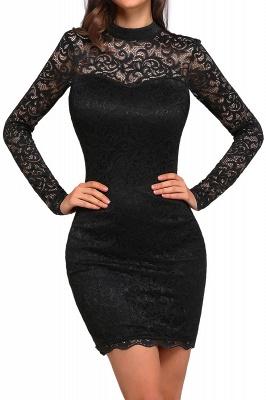 Schwarzes Cocktailkleid   Abendkleider mit Ärmel_1