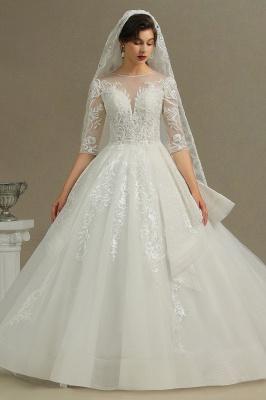 Designer Hochzeitskleider A Linie | Bruatkleider Spitzeärmel_2