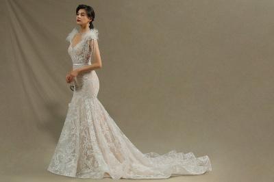 Elegante Brautkleider Meerjungfrau   Hochzeitskleider Spitze_5