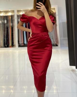 Rote Cocktailkleider Kurz | Schlichtes Abendkleid Abiballkleider_3