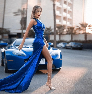 König Blau Abiballkleider Lang Glitzer   Sexy Abendkleider_2