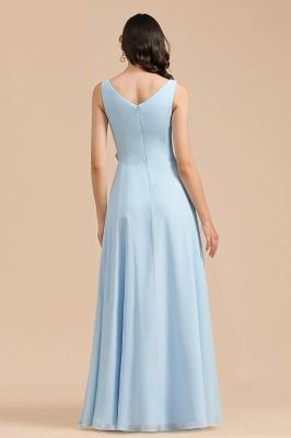 Brautjungfernkleider Heller Blau   Günstiges Brautjungfernkleid Lang Chiffon_3