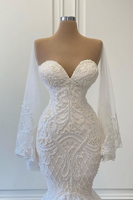 Luxus Brautkleider Mit Ärmel | Spitze Hochzeitskleid Meerjungfrau_2