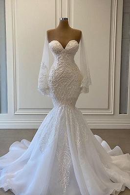 Luxus Brautkleider Mit Ärmel | Spitze Hochzeitskleid Meerjungfrau_1