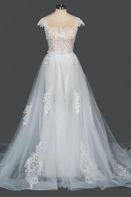 Schöne Hochzeitskleider A Linie Spitze | Brautkleider Online Kaufen_13