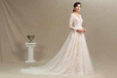 Designer Brautkleid A Linie | Spitze Hochzeitskleider mit Ärmel_10
