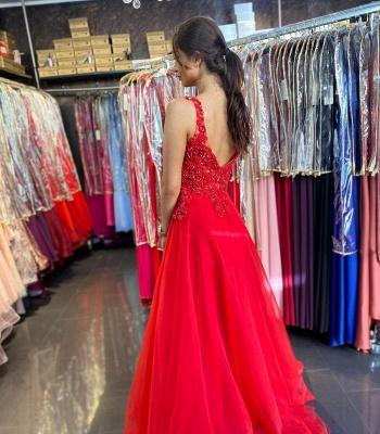 Rotes Abendkleid Lang v Ausschnitt | Abendkleider mit Spitze_2