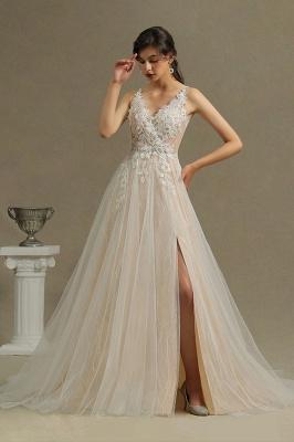 Brautkleid A linie Spitze | Schlichtes Hochzeitskleid Günstig