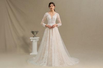 Designer Brautkleid A Linie | Spitze Hochzeitskleider mit Ärmel_4