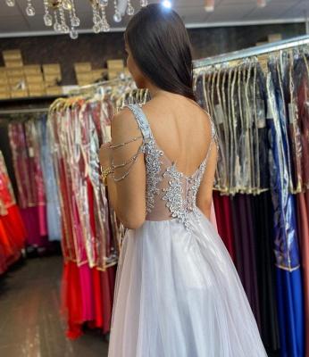 Silber Abendkleider mit Spitze | Abiballkleider Lang_3