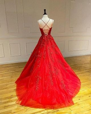 Rote Abendkleider Lang Günstig | Spitze Abiballkleider Online_3