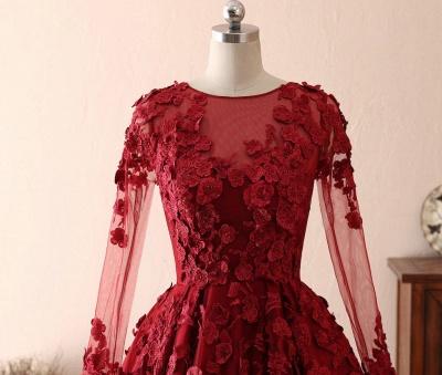Schöne Abendkleider Mit Ärmel | Rote Abiballkleider Spitze_4