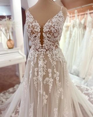 Elegante Brautkleider A Linie Spitze   Hochzeitskleider Günstig Online_4