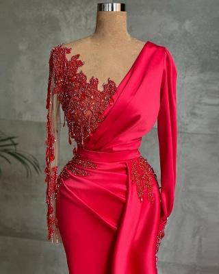 Rote Abendkleider Mit Ärmel   Abiballkleider Lang Günstig_2