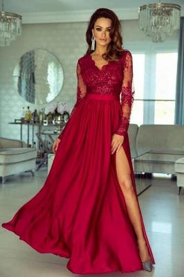 Rote Abendkleider Lang Mit Ärmel | Abiballkleider Spitze Günstig