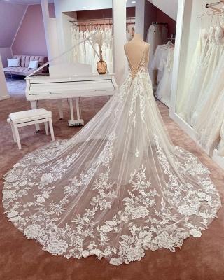 Elegante Brautkleider A Linie Spitze   Hochzeitskleider Günstig Online_3