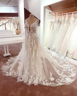 Elegante Brautkleider A Linie Spitze   Hochzeitskleider Günstig Online_2