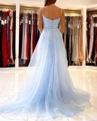 Blaue Abendkleider Lang Günstig | Abiballkleider mit Glitzer_3