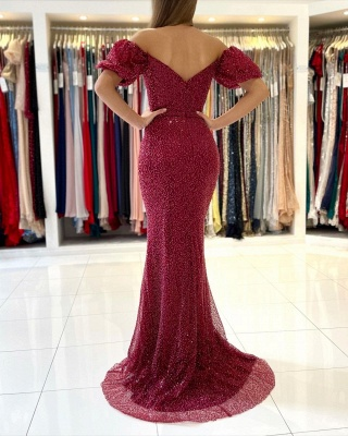 Rote Abendkleider Lang Glitzer   Abiballkleider Abendmoden Online_2