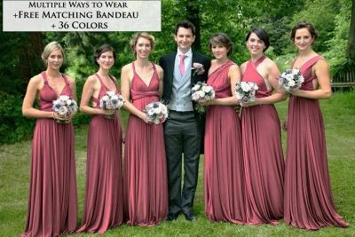 Weinrot Wandelbare Brautjungfernkleider | Kleider für Brautjungfern Günstig_2
