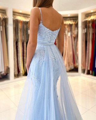 Blaue Abendkleider Lang Günstig | Abiballkleider mit Glitzer_2