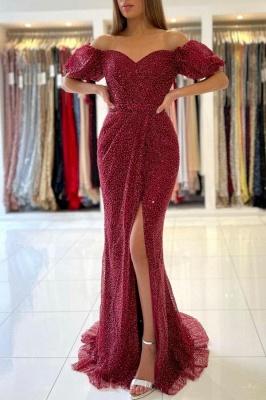 Rote Abendkleider Lang Glitzer | Abiballkleider Abendmoden Online