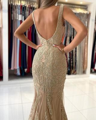 Golden Abendkleider Lang Spitze | Abiballkleider Günstig Kaufen_6