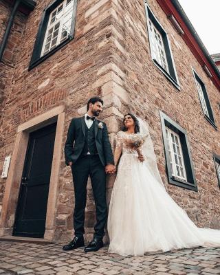 2021 Brautkleider mit Ärmel | Hochzeitskleider A Linie Spitze_5