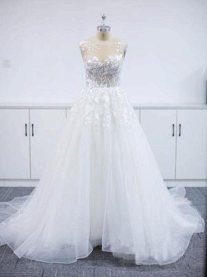 Wunderschöne Brautkleider A Linie Spitze   Hochzeitskleider Online Günstig_3