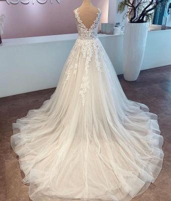 Schlichte Brautkleider A Linie | Hochzeitskleider mit Spitze_2