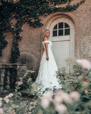 Schöne Hochzeitskleider A Linie Spitze | Brautmoden Brautkleider Günstig_3