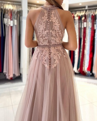 Abendkleider Lang Altrosa | Abiballkleider mit Spitze_5