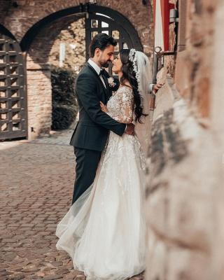 2021 Brautkleider mit Ärmel | Hochzeitskleider A Linie Spitze_4
