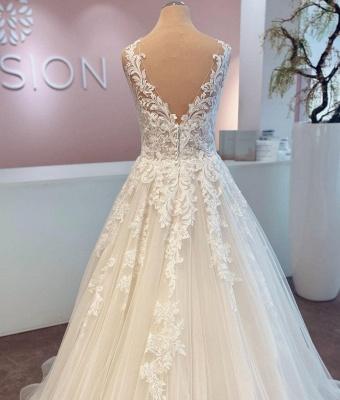 Schlichte Brautkleider A Linie | Hochzeitskleider mit Spitze_3