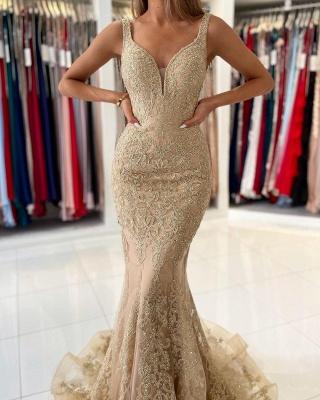 Golden Abendkleider Lang Spitze | Abiballkleider Günstig Kaufen_3