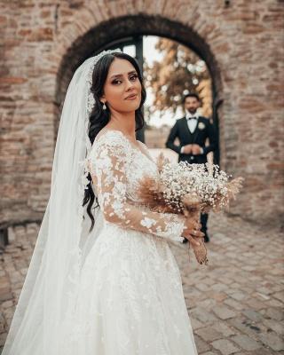 2021 Brautkleider mit Ärmel | Hochzeitskleider A Linie Spitze_3