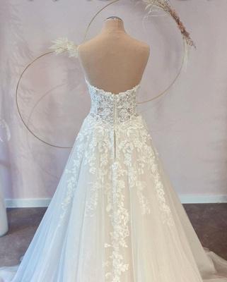 Elegante Brautkleider A Linie   Hochzeitskleider Spitze Günstig_2