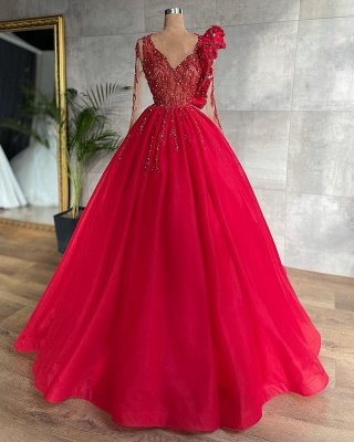Rote Abendkleider Mit Ärmel | Abiballkleider Lang Günstig_2