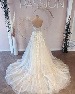 Elegante Brautkleider A Linie   Hochzeitskleider Spitze Günstig_3