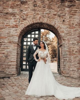 2021 Brautkleider mit Ärmel | Hochzeitskleider A Linie Spitze_6