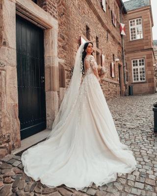 2021 Brautkleider mit Ärmel | Hochzeitskleider A Linie Spitze_2