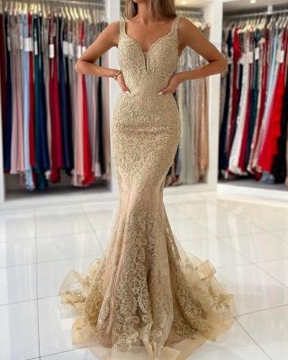 Golden Abendkleider Lang Spitze | Abiballkleider Günstig Kaufen_4