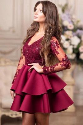 Elegante Cocktailkleider Kurz Mit Spitze   Rote Abendkleider mit Ärmel_3