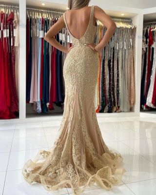 Golden Abendkleider Lang Spitze | Abiballkleider Günstig Kaufen_5