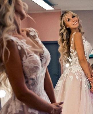 Wunderschöne Brautkleider A Linie Spitze   Hochzeitskleider Online Günstig_2