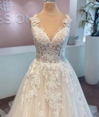 Schlichte Brautkleider A Linie | Hochzeitskleider mit Spitze_4