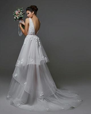 Brautkleider Lang V Ausschnitt | Hochzeitskleider A Linie_2